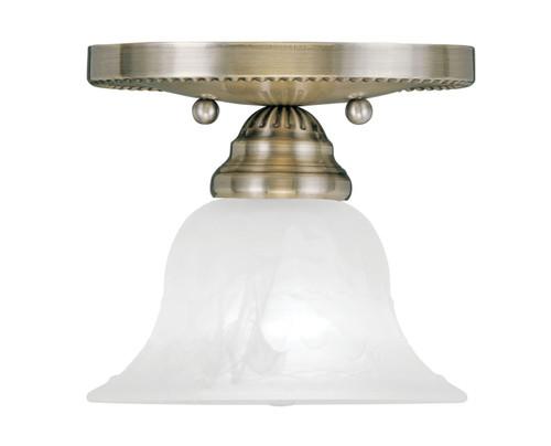 LIVEX Lighting 1530-01 Edgemont Flushmount in Antique Brass (1 Light)