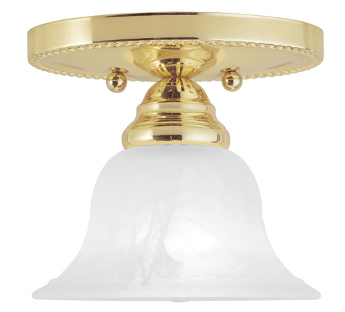 LIVEX Lighting 1530-02 Edgemont Flushmount in Polished Brass (1 Light)