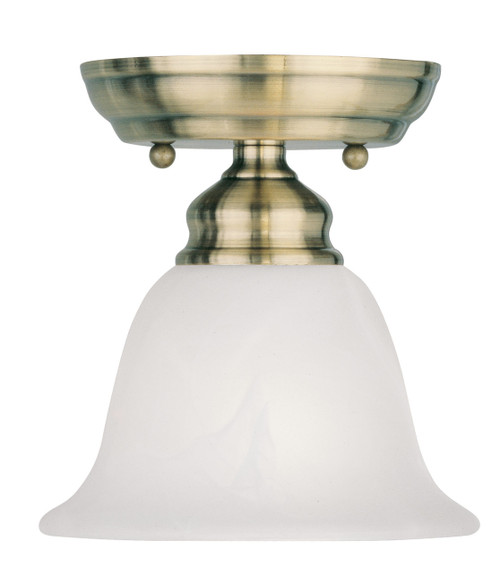 LIVEX Lighting 1350-01 Essex Flushmount in Antique Brass (1 Light)