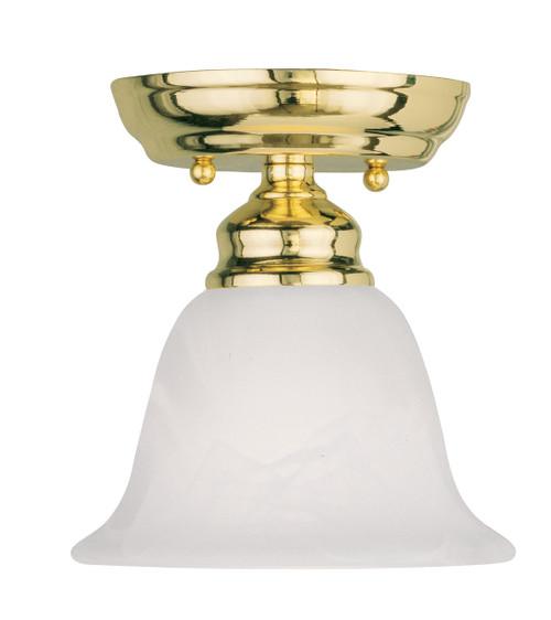LIVEX Lighting 1350-02 Essex Flushmount in Polished Brass (1 Light)