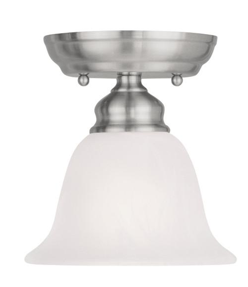 LIVEX Lighting 1350-91 Essex Flushmount in Brushed Nickel (1 Light)