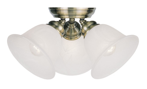 LIVEX Lighting 1358-01 Essex Flushmount in Antique Brass (3 Light)