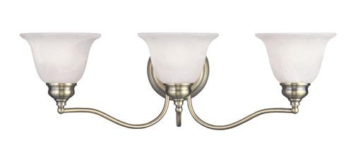 LIVEX Lighting 1353-01 Essex Bath Light in Antique Brass (3 Light)