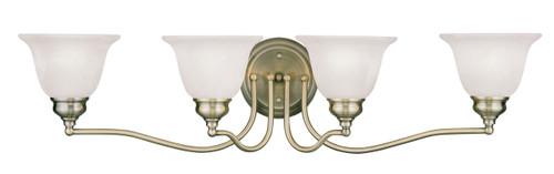 LIVEX Lighting 1354-01 Essex Bath Light in Antique Brass (4 Light)