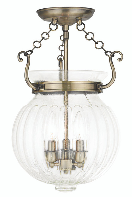 LIVEX Lighting 50504-01 Everett Flushmount in Antique Brass (3 Light)