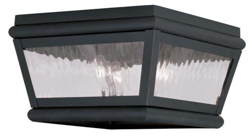 LIVEX Lighting 2611-04 Exeter Outdoor Flushmount in Charcoal (2 Light)