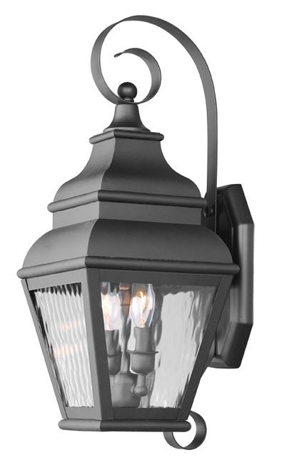LIVEX Lighting 2602-04 Exeter Outdoor Wall Lantern in Black (2 Light)