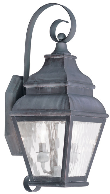 LIVEX Lighting 2602-61 Exeter Outdoor Wall Lantern in Charcoal (2 Light)
