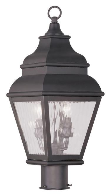 LIVEX Lighting 2603-07 Exeter Outdoor Post Lantern in Bronze (2 Light)