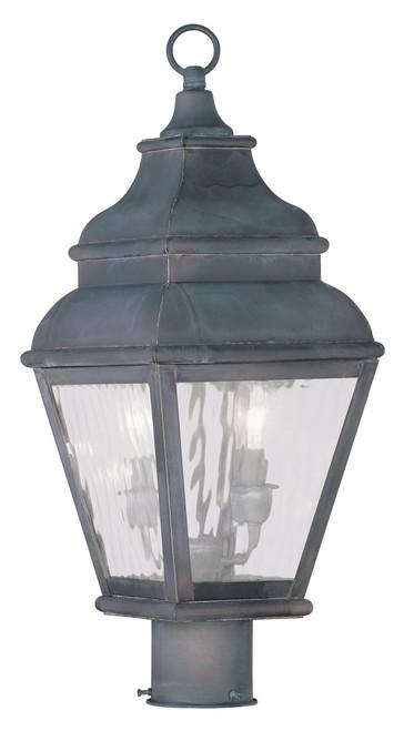 LIVEX Lighting 2603-61 Exeter Outdoor Post Lantern in Charcoal (2 Light)