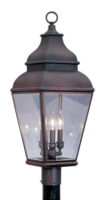 LIVEX Lighting 2594-07 Exeter Outdoor Post Lantern in Bronze (3 Light)