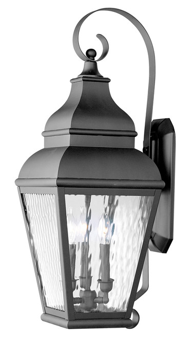 LIVEX Lighting 2605-04 Exeter Outdoor Wall Lantern in Black (3 Light)