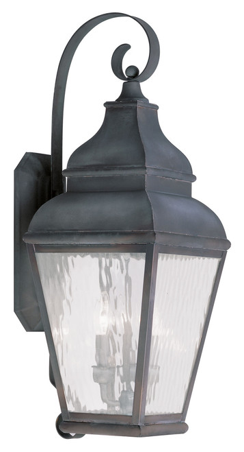 LIVEX Lighting 2605-61 Exeter Outdoor Wall Lantern in Charcoal (3 Light)