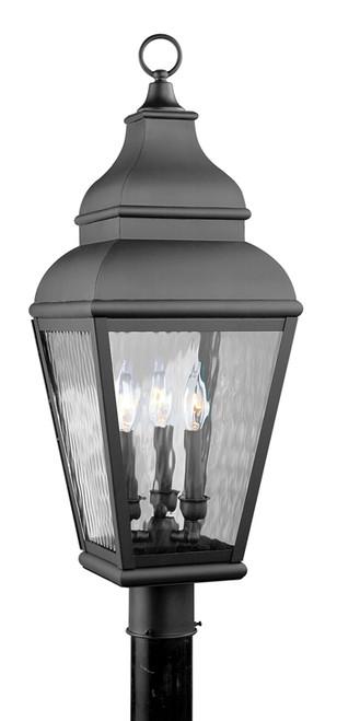 LIVEX Lighting 2606-04 Exeter Outdoor Post Lantern in Black (3 Light)