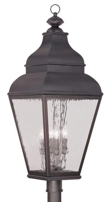 LIVEX Lighting 2608-07 Exeter Outdoor Post Lantern in Charcoal (4 Light)
