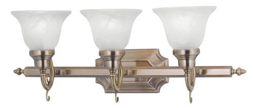 LIVEX Lighting 1283-01 French Regency Bath Light in Antique Brass (3 Light)