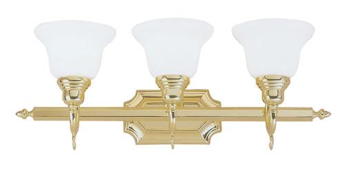 LIVEX Lighting 1283-02 French Regency Bath Light in Polished Brass (3 Light)