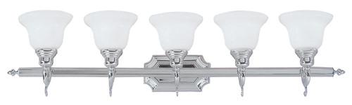 LIVEX Lighting 1285-05 French Regency Bath Light in Polished Chrome (5 Light)