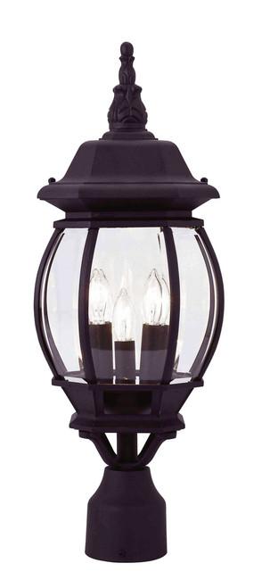 LIVEX Lighting 7526-04 Frontenac Outdoor Post Lantern in Black (3 Light)