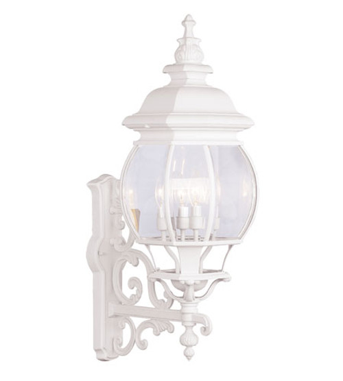 LIVEX Lighting 7701-03 Frontenac Outdoor Wall Lantern in White (4 Light)