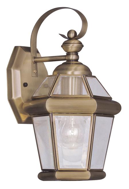 LIVEX Lighting 2061-01 Georgetown Outdoor Wall Lantern in Antique Brass (1 Light)