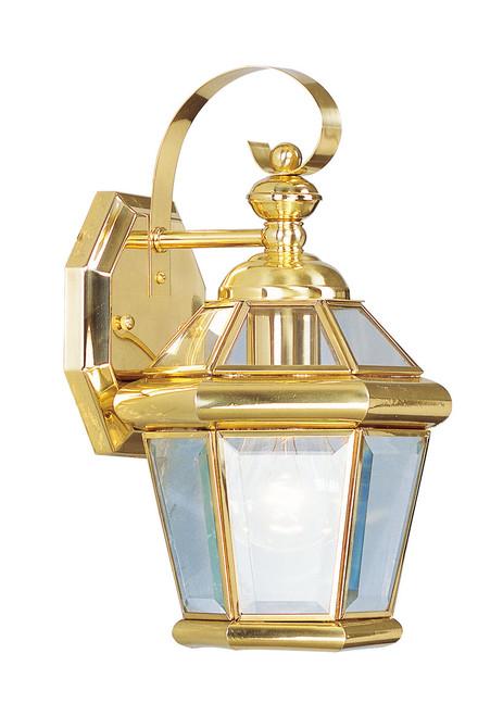 LIVEX Lighting 2061-02 Georgetown Outdoor Wall Lantern in Polished Brass (1 Light)