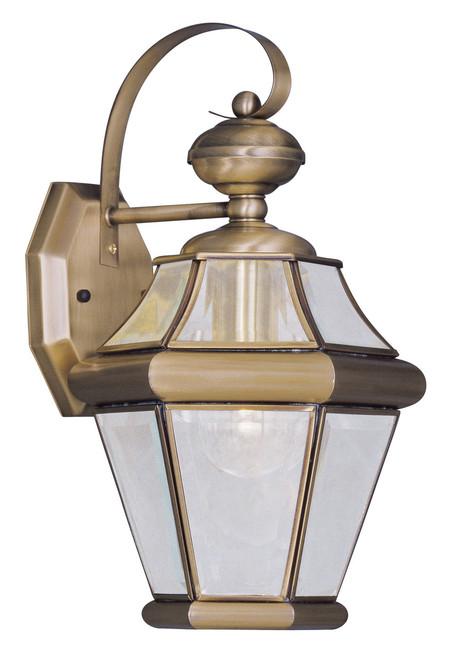 LIVEX Lighting 2161-01 Georgetown Outdoor Wall Lantern in Antique Brass (1 Light)