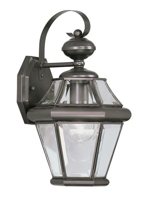 LIVEX Lighting 2161-07 Georgetown Outdoor Wall Lantern in Bronze (1 Light)