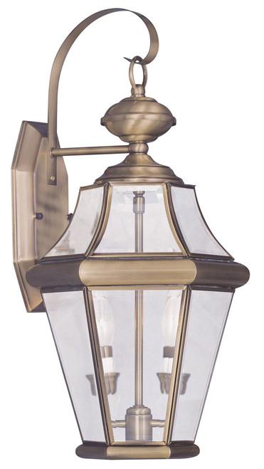 LIVEX Lighting 2261-01 Georgetown Outdoor Wall Lantern in Antique Brass (2 Light)