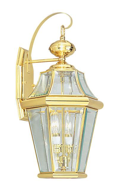 LIVEX Lighting 2261-02 Georgetown Outdoor Wall Lantern in Polished Brass (2 Light)