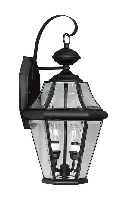 LIVEX Lighting 2261-04 Georgetown Outdoor Wall Lantern in Black (2 Light)