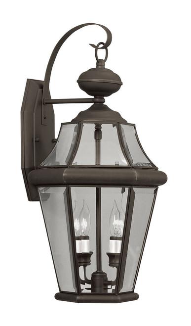 LIVEX Lighting 2261-07 Georgetown Outdoor Wall Lantern in Bronze (2 Light)