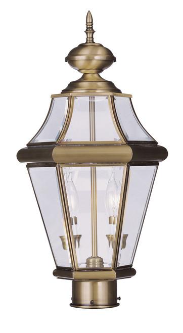 LIVEX Lighting 2264-01 Georgetown Outdoor Post Lantern in Antique Brass (2 Light)