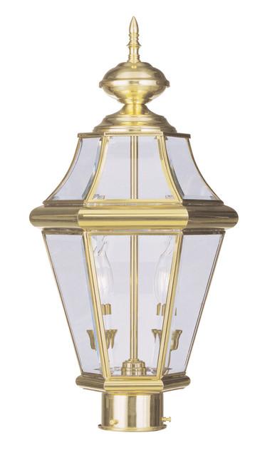 LIVEX Lighting 2264-02 Georgetown Outdoor Post Lantern in Polished Brass (2 Light)