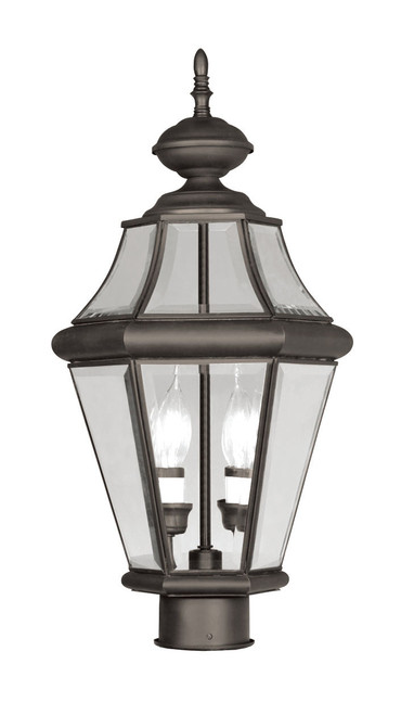 LIVEX Lighting 2264-07 Georgetown Outdoor Post Lantern in Bronze (2 Light)