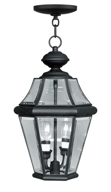 LIVEX Lighting 2265-04 Georgetown Outdoor Chain Lantern in Black (2 Light)