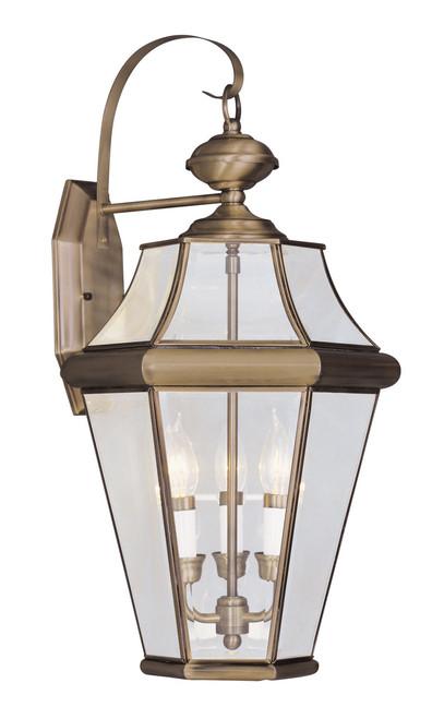 LIVEX Lighting 2361-01 Georgetown Outdoor Wall Lantern in Antique Brass (3 Light)