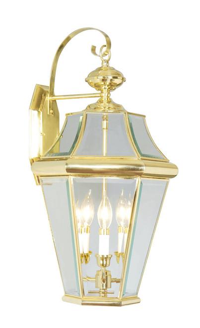 LIVEX Lighting 2361-02 Georgetown Outdoor Wall Lantern in Polished Brass (3 Light)