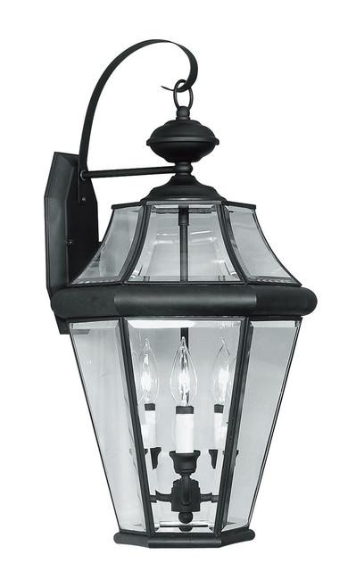 LIVEX Lighting 2361-04 Georgetown Outdoor Wall Lantern in Black (3 Light)