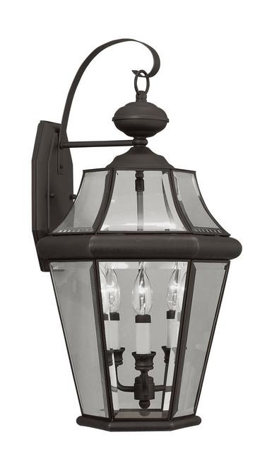 LIVEX Lighting 2361-07 Georgetown Outdoor Wall Lantern in Bronze (3 Light)