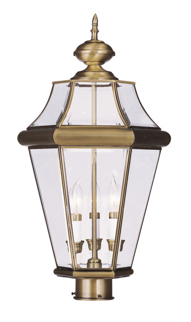 LIVEX Lighting 2364-01 Georgetown Outdoor Post Lantern in Antique Brass (3 Light)