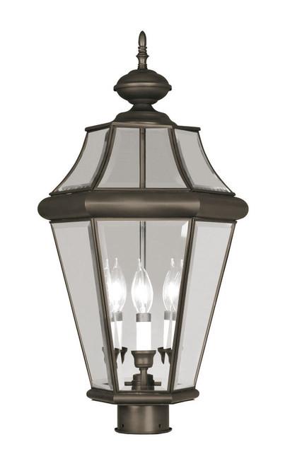 LIVEX Lighting 2364-07 Georgetown Outdoor Post Lantern in Bronze (3 Light)