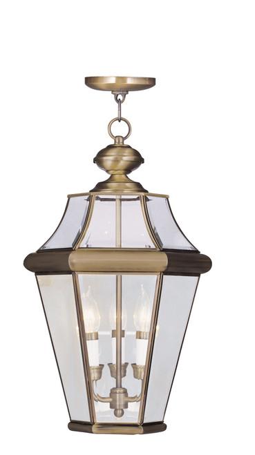 LIVEX Lighting 2365-01 Georgetown Outdoor Chain Lantern in Antique Brass (3 Light)