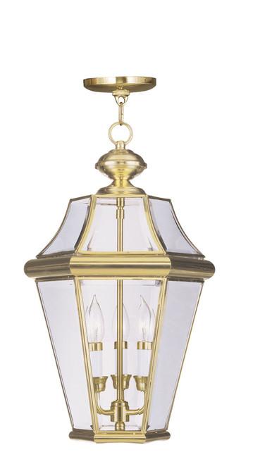 LIVEX Lighting 2365-02 Georgetown Outdoor Chain Lantern in Polished Brass (3 Light)