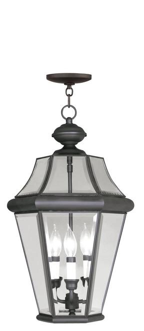 LIVEX Lighting 2365-07 Georgetown Outdoor Chain Lantern in Bronze (3 Light)