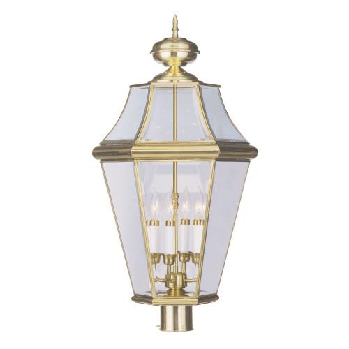 LIVEX Lighting 2368-02 Georgetown Outdoor Post Lantern in Polished Brass (4 Light)
