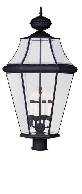 LIVEX Lighting 2368-04 Georgetown Outdoor Post Lantern in Black (4 Light)