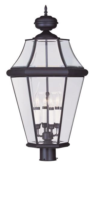 LIVEX Lighting 2368-07 Georgetown Outdoor Post Lantern in Bronze (4 Light)