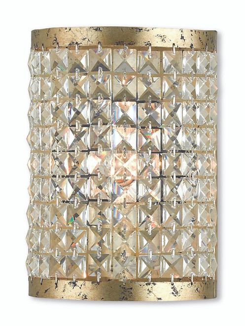 LIVEX Lighting 50571-28 Grammercy ADA Wall Sconce with Hand-Applied Winter Gold (1 Light)