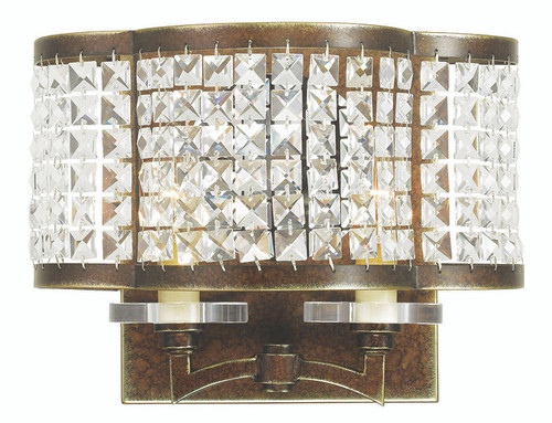 LIVEX Lighting 50568-64 Grammercy Wall Sconce with Hand-Painted Palacial Bronze (2 Light)